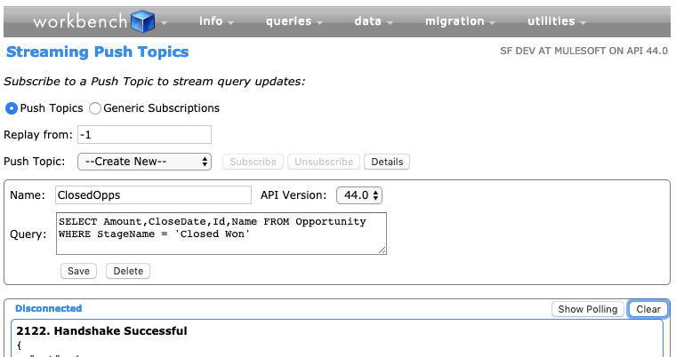 Screenshot of Workbench showing the Streaming PushTopics page.
