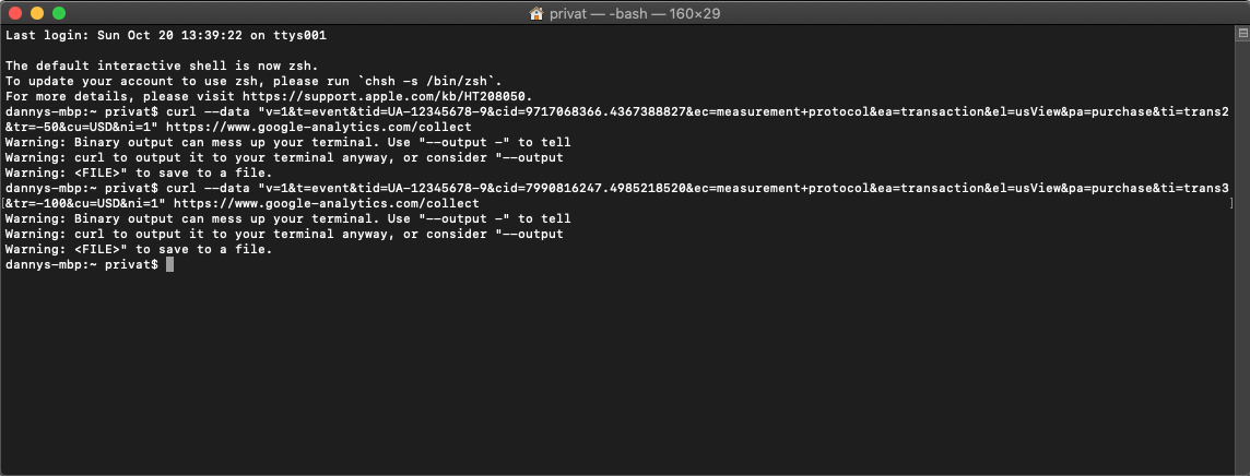 using the bash terminal for measurement protocol.