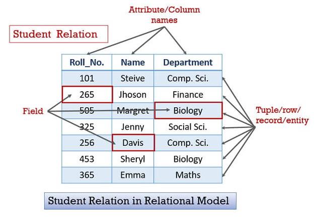 Ví dụ về một mô hình dữ liệu quan hệ
