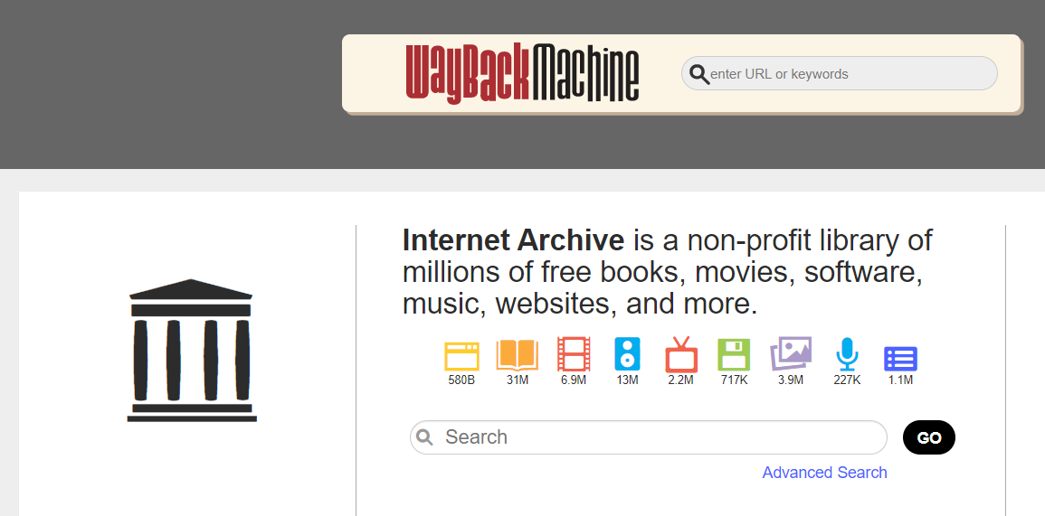 Screenshot of Archive.org Search Engine