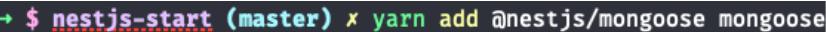 código de comando para instalação do mongoose para a aplicação de NestJS