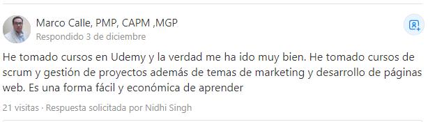 Mario Calle se siente satisfecho con la encomia de la Udemy