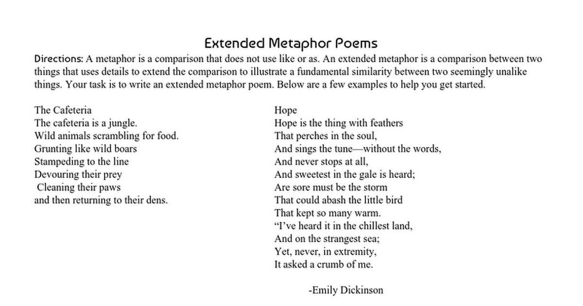 Extended Metaphor Poems Assignment Sheet Google Docs