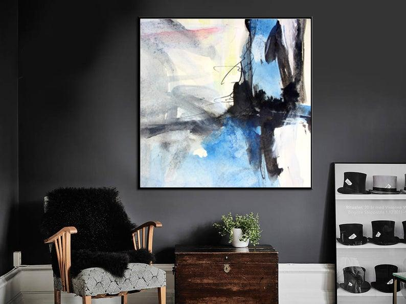 black and white absctract painting