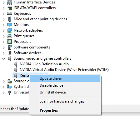 update install or disable sound driver in windows 10