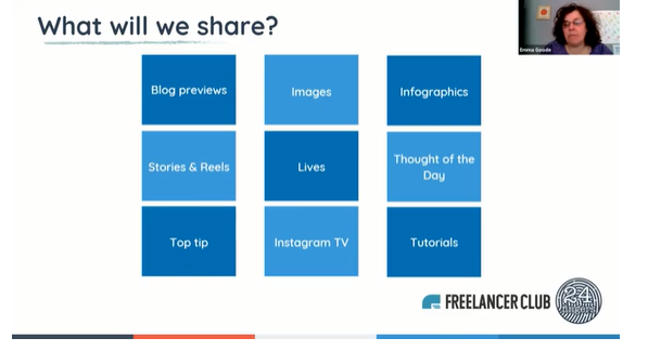 examples of content. how to get more clients on Instagram, how to market yourself as a freelancer, how to use Instagram