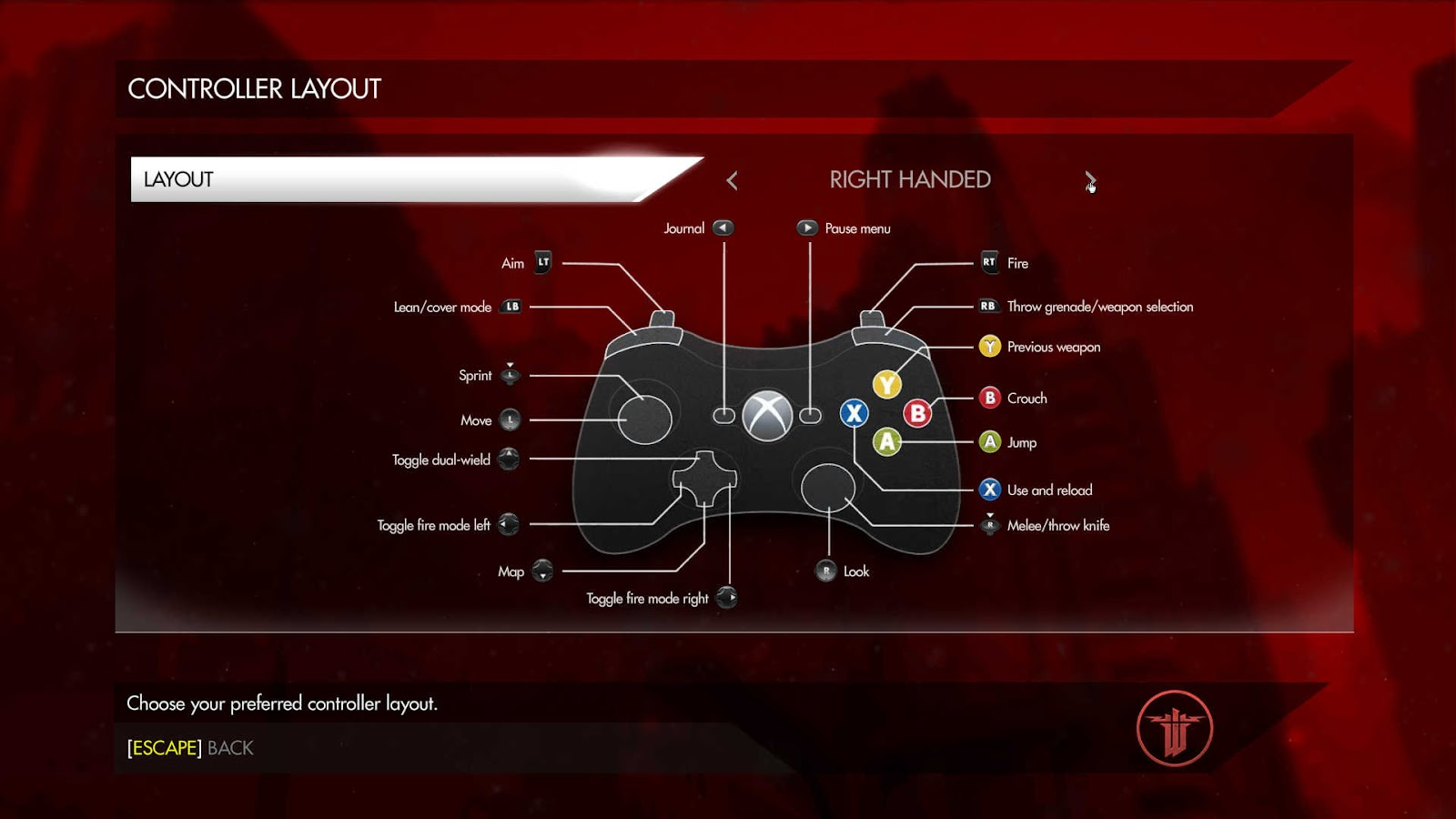 Shot of the right handed control scheme for gamepad