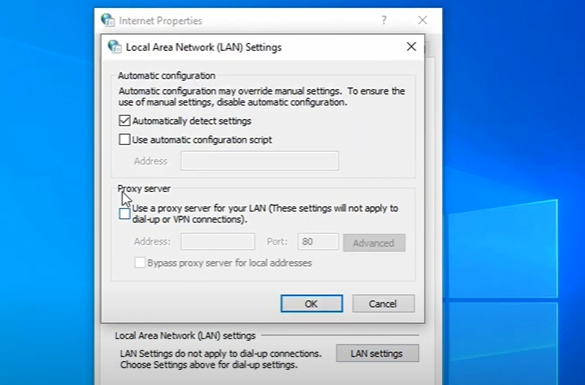 """Disable the """"Use a proxy server for your LAN"""" option by unchecking the box next to it."""