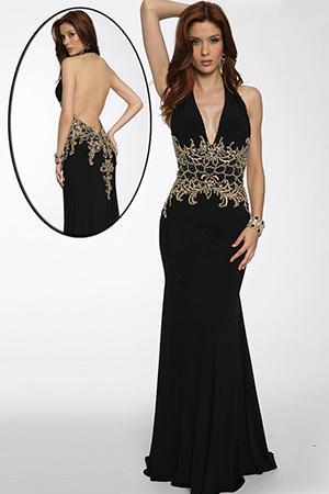 Halter Plunging Neckline Gown 98692