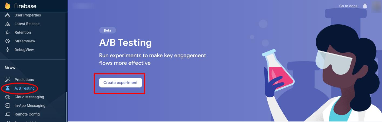 Screenshot of Google Firebase A/B testing