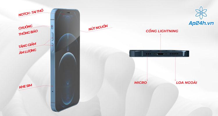 Cấu tạo bên ngoài iPhone 12 Pro ở mặt trước và cạnh
