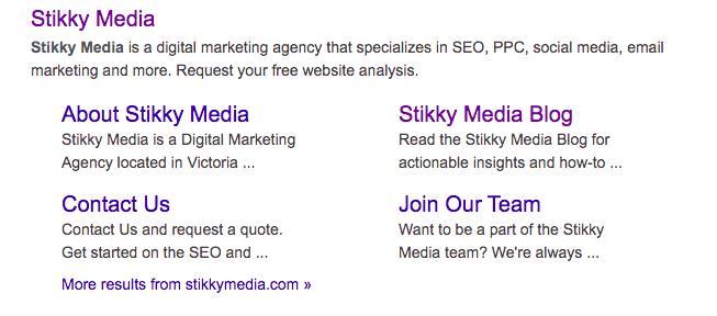 Stikky Media's sitelinks.