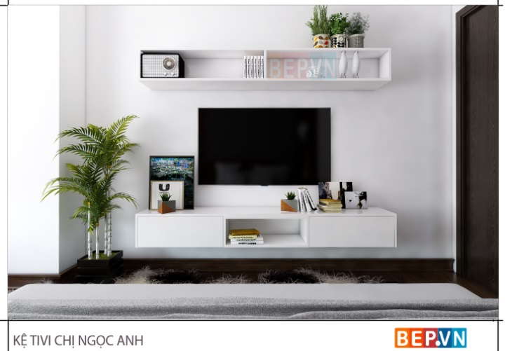 Kệ tivi acrylic đơn giản trong phòng ngủ