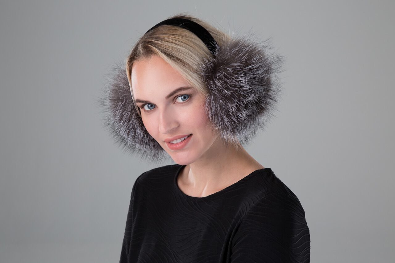 Fox Earmuffs with Velvet Band in Blue Frost