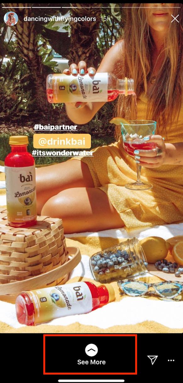 swipe up feature on Instagram