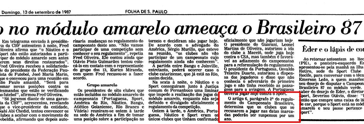 Jornal Folha de São Paulo sobre Brasileirão de 1987