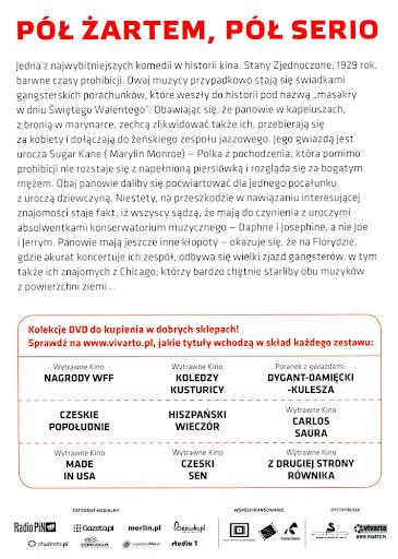 Tył ulotki filmu 'Pół Żartem, Pół Serio'