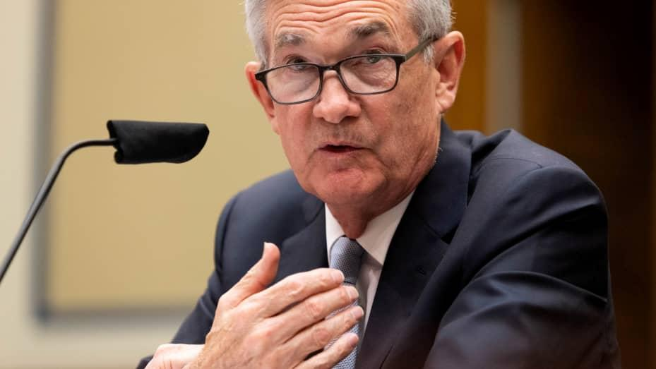 Federal Reserve Chair Jerome Powell testifies during a U.S. House Oversight and Reform Select Subcommittee hearing on coronavirus crisis, on Capitol Hill in Washington, June 22, 2021.