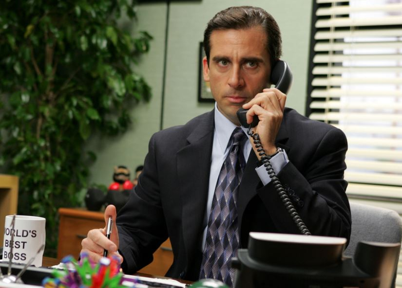 The Vetducator - Michael Scott from The office talks on the phone.  Don't do it like him.