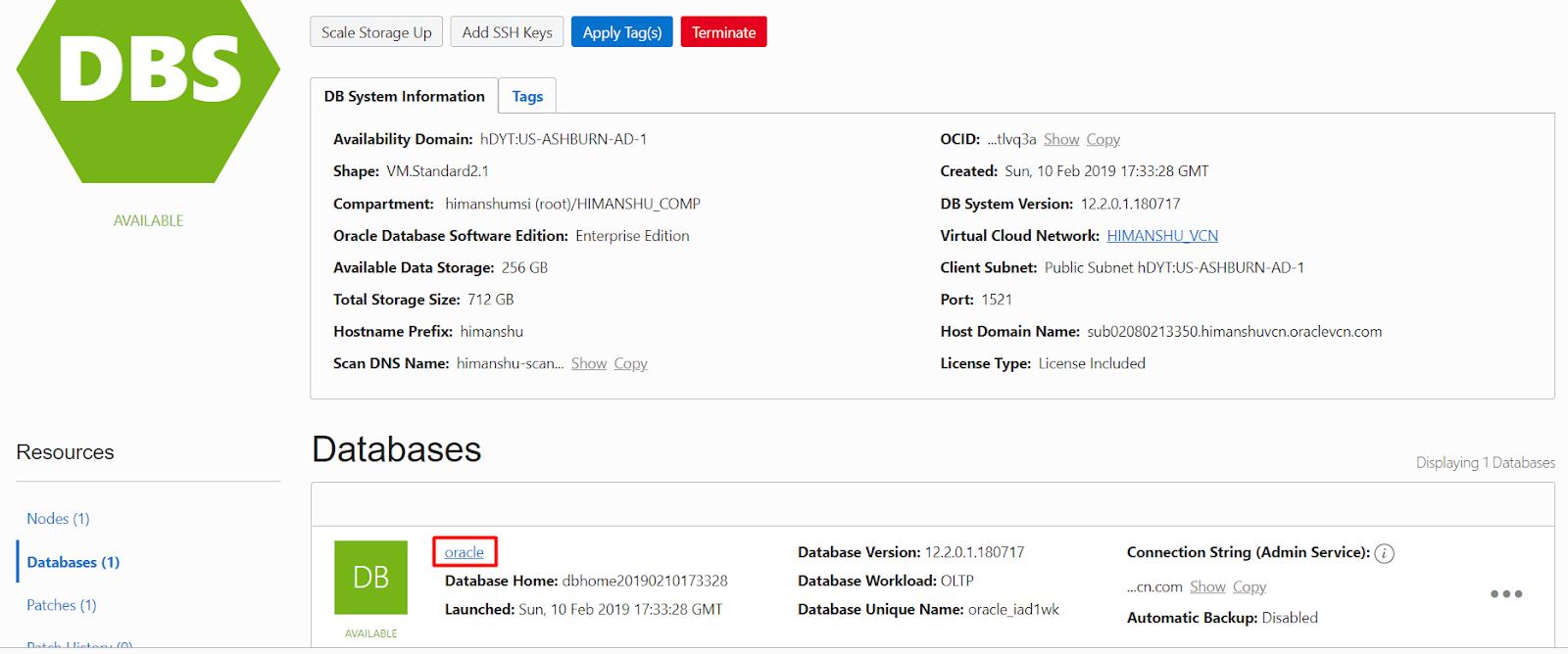 OCI Database connection from SQL Developer - OCI