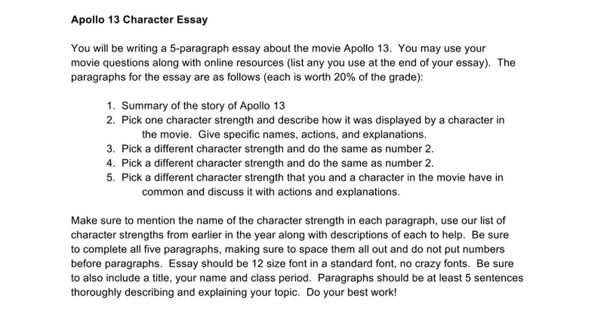 apollo character essay google docs