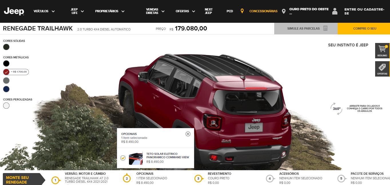captura de tela do site da Jeep