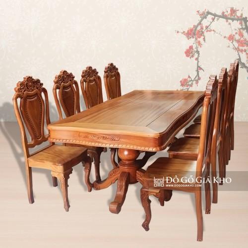 Bàn ăn gỗ gõ đỏ 8 ghế - BA018