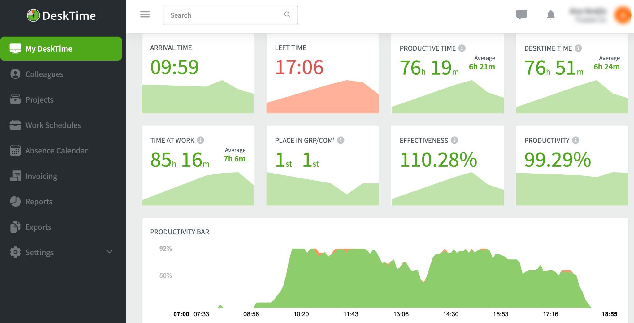 DeskTime app screenshot – time tracking apps for Mac