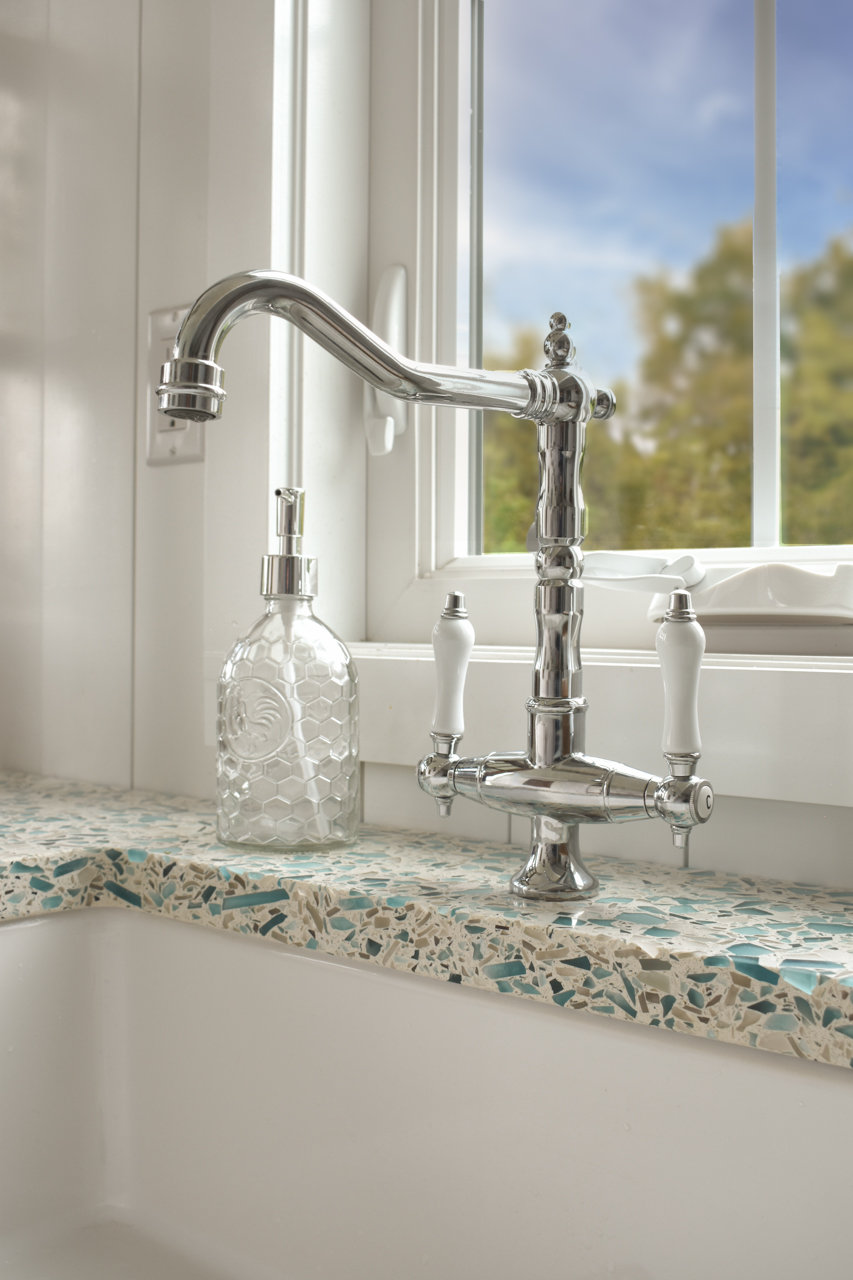Vetrazzo-Floating-Blue-Recycled-Glass-Kitchen-Countertops-Sink-Faucet-Tiny-Home