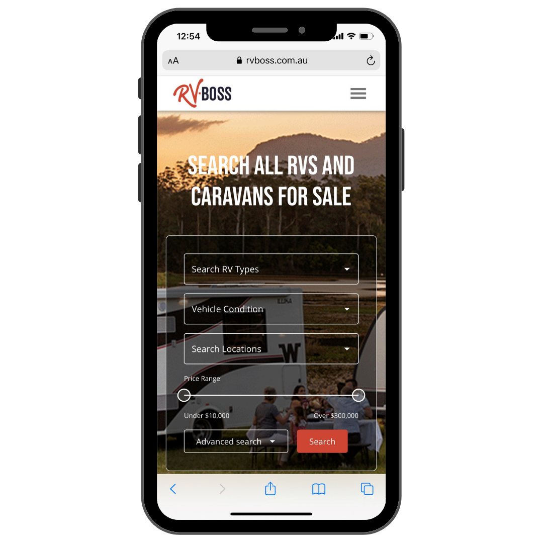 smart phone with rv boss web page