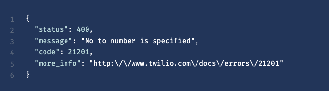 Error example on Twilio