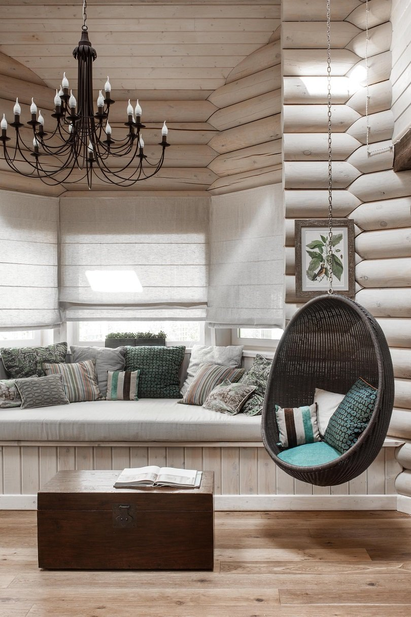 log cabin interior design reading nook