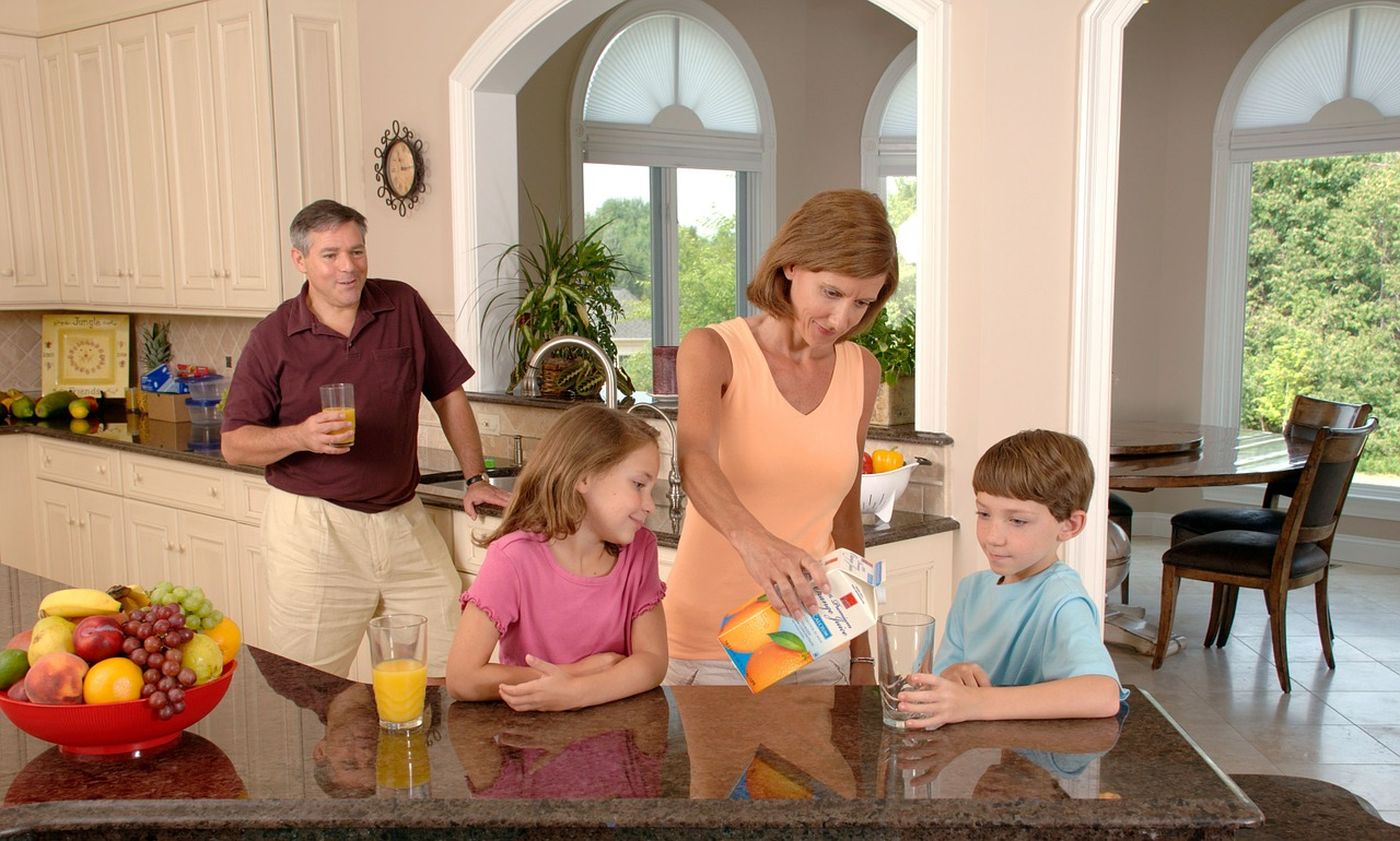 Family Drinking Orange Juice, Glass, Pouring, Healthy