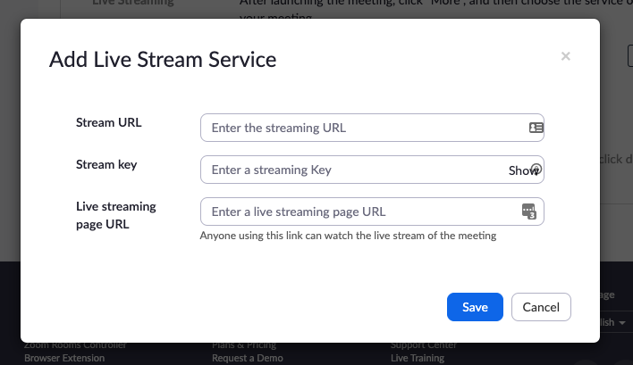 Adding a custom livestreaming service to Zoom