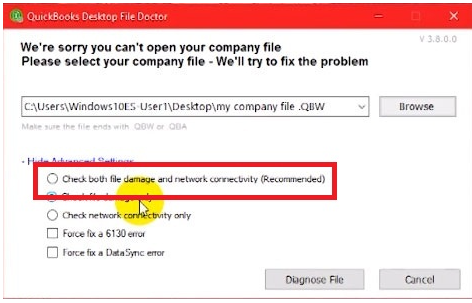 quickbooks file doctor diagnosis :  we are sorry you can't open your company file >> Check both file damage and network consecutively (recommended)
