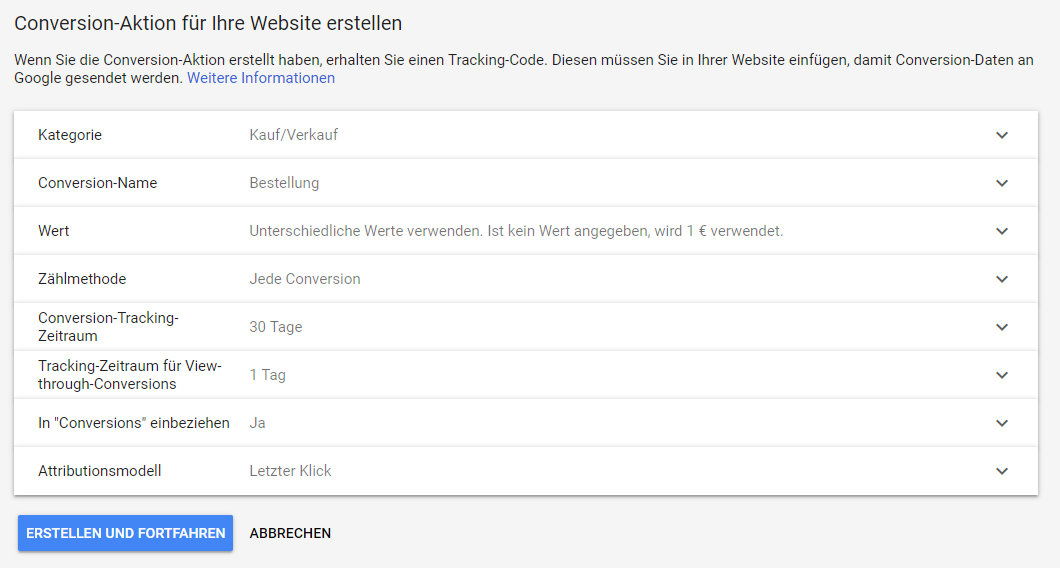 Google Ads Conversion Einstellung