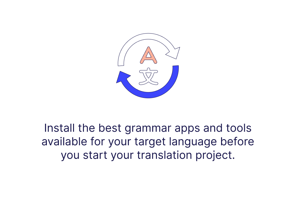 Install the best grammar apps and tools available in your target language before you start your translation project.