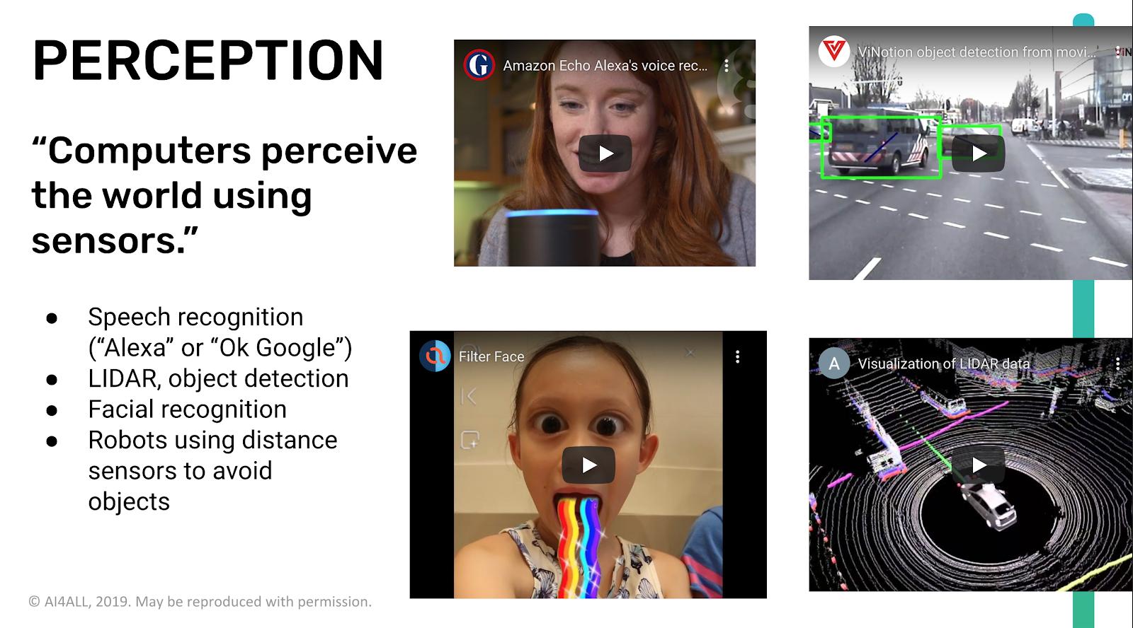 Perception is one of five key ideas in K-12 AI education.