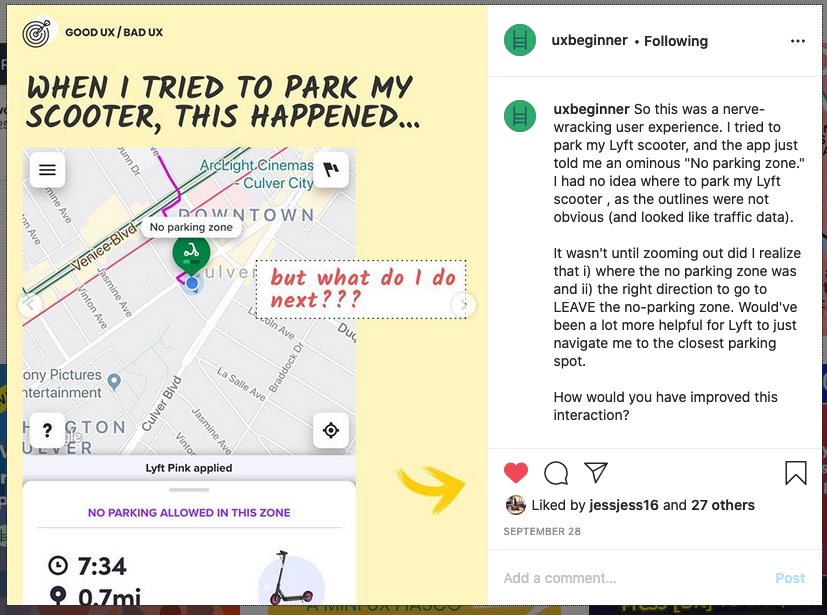 "Screenshot of IG post with text ""When I tried to park my scooter, this happened..."""