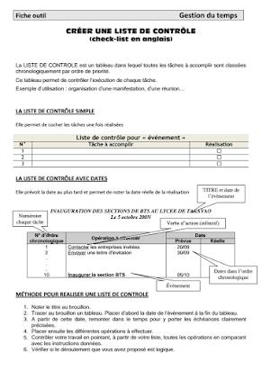 Liste De Contrôle Check List Bac Pro Gestion Administration