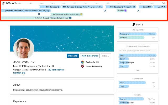 CV Timeline screenshot