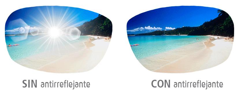 Gafas de sol sin antirreflejante y lente con antirreflejante