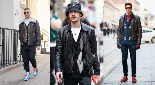 men's cardigan leather jacket street