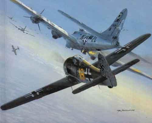 Бронированный истребитель FW-190 таранит самолет американцев.