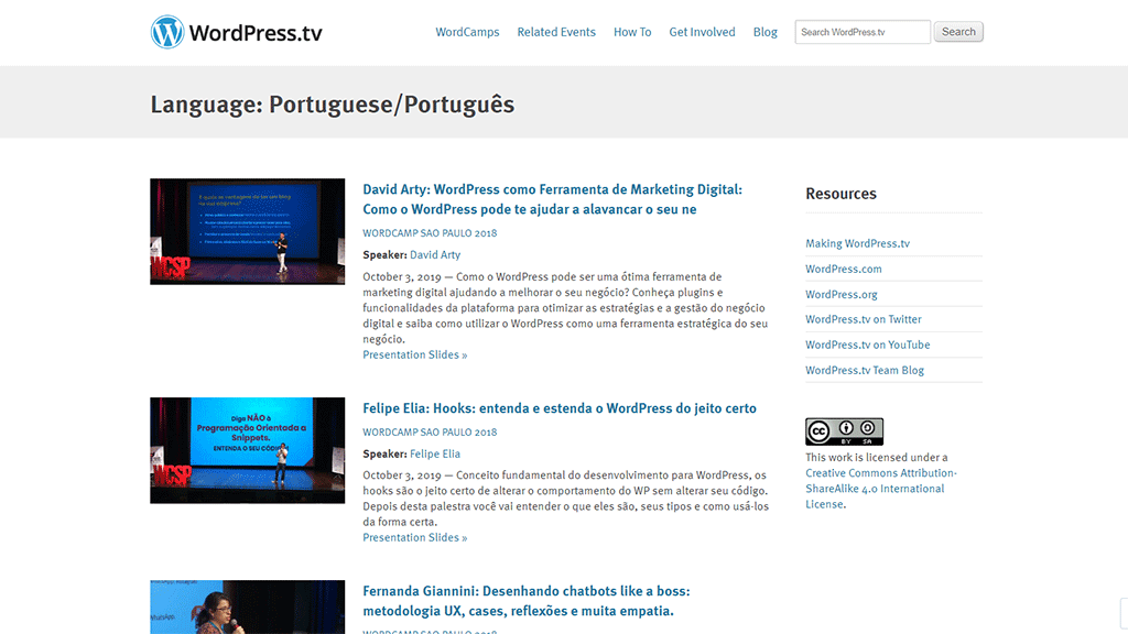 site wordpress.tv de tutoriais em vídeo sobre o wordpress