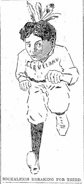 "An illustration of Louis Sockalexis, a Native star player for the Cleveland team in the late 19th Century.  photo credit info: Belt Magazine June 19th, 2014, ""The Secret History of Chief Wahoo."""