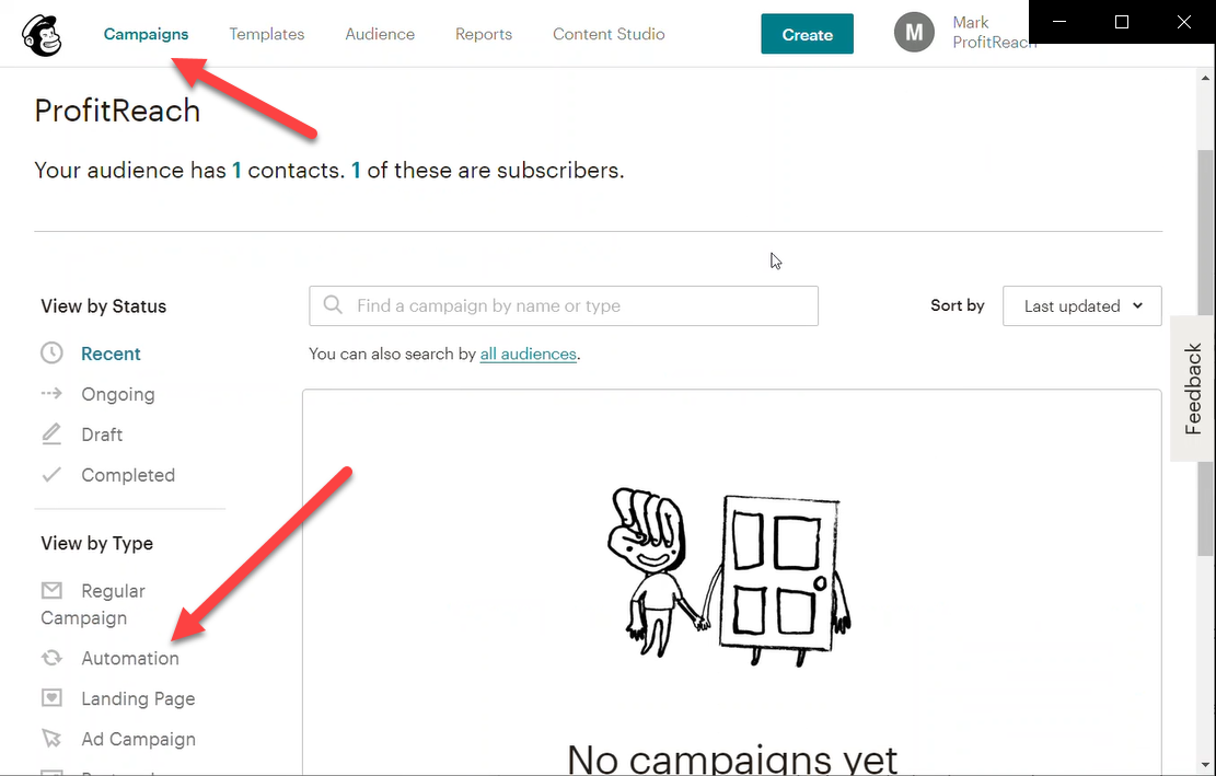 Now go to the Automations section in Campaigns