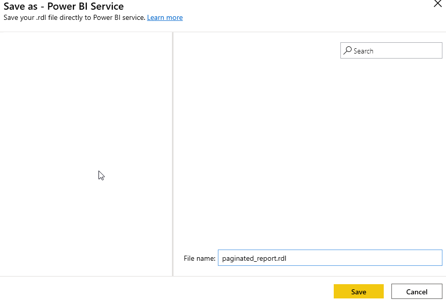 Publishing Paginated Report to Power BI Service