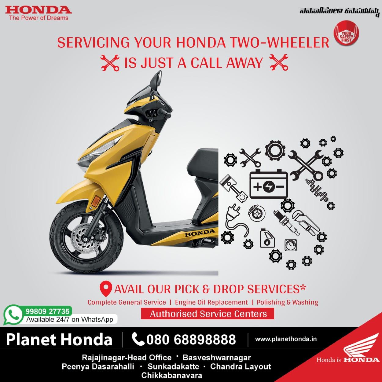Servicing your Honda two wheeler