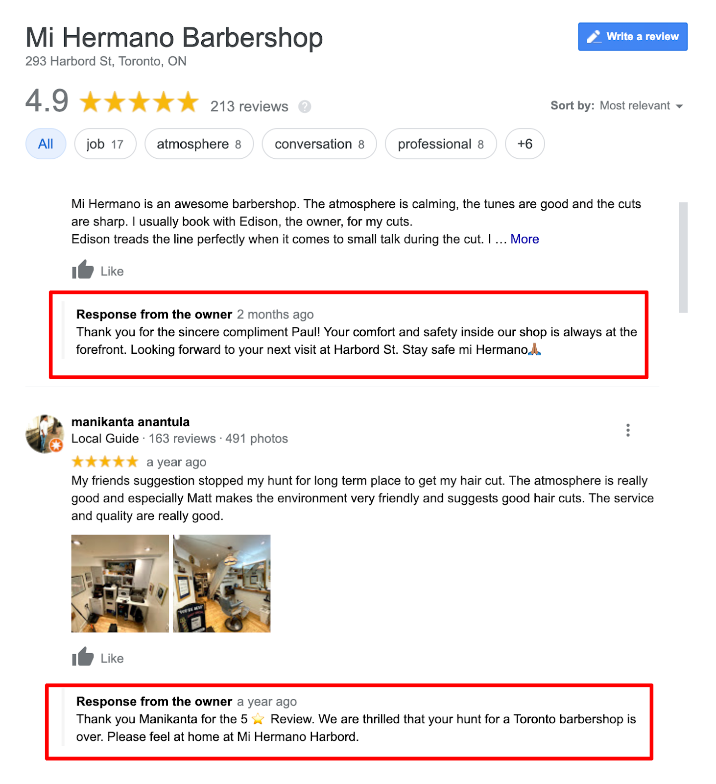 business owner google reply